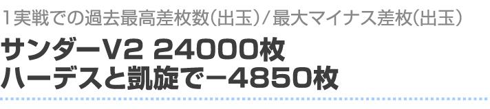 1実戦での過去最高差枚数(出玉)/最大マイナス差枚(出玉) サンダーV2で2400枚 ハーデスと凱旋で-4850枚