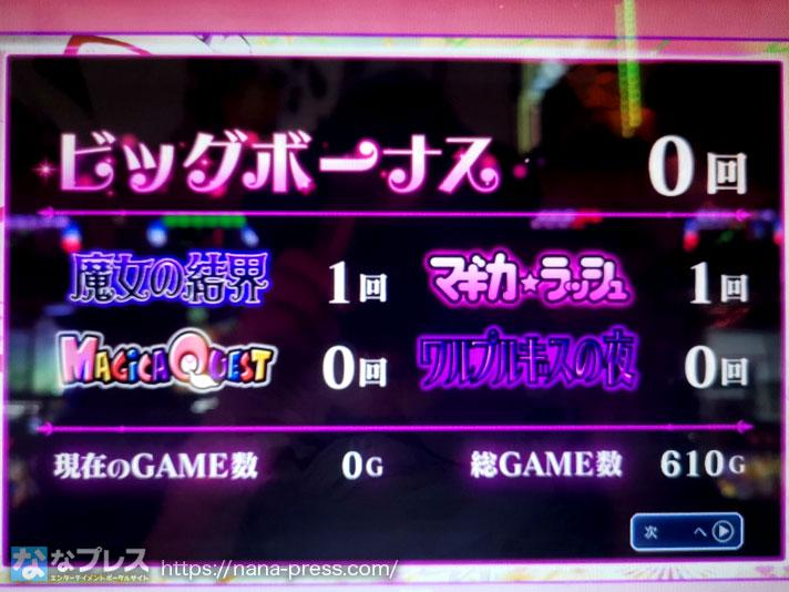 SLOT魔法少女まどか☆マギカ2 ビッグボーナス0回 魔界の結界1回 マギカラッシュ1回 総ゲーム数610G
