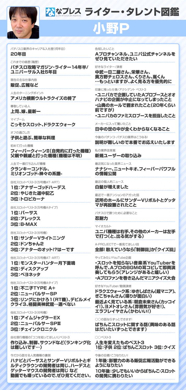 小野P ライター・タレント図鑑