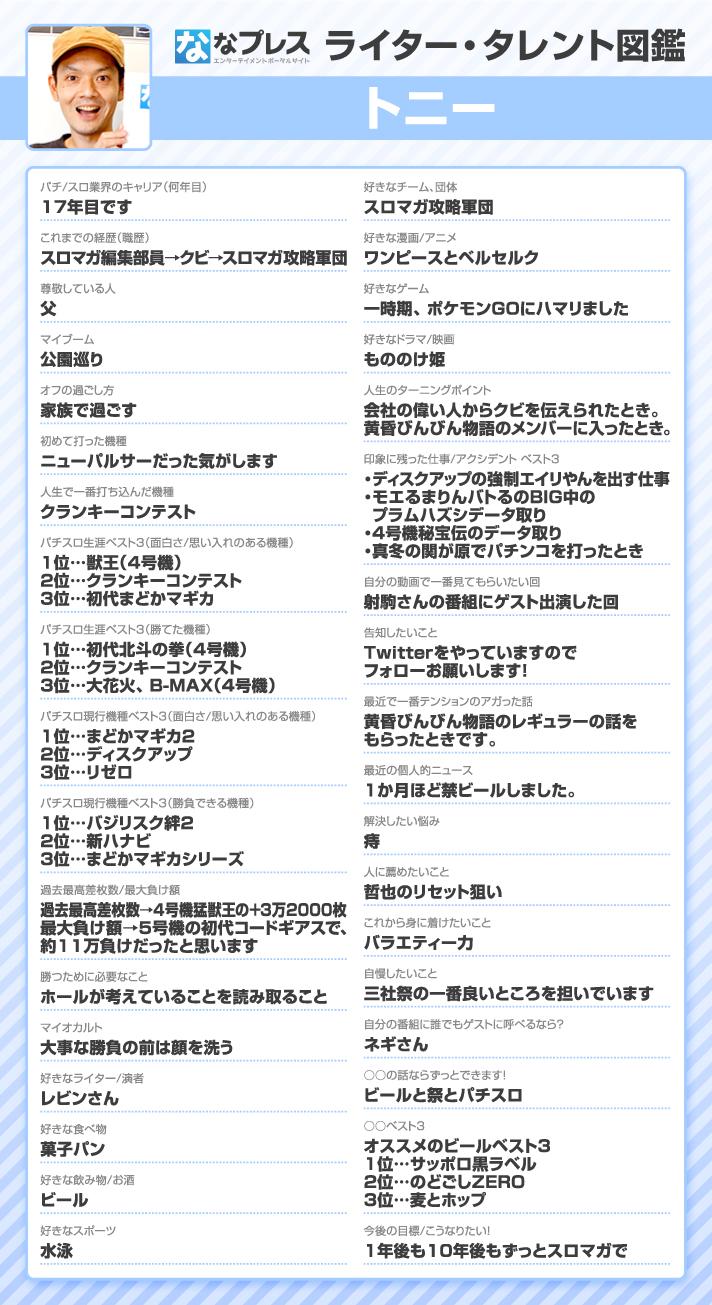 トニー ライター・タレント図鑑