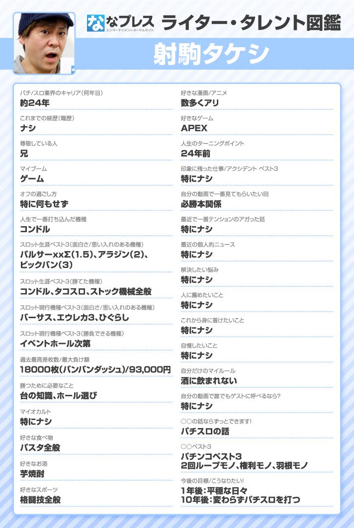 射駒タケシ ライター・タレント図鑑